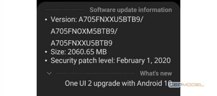 samsung galaxy a70 android 10 - Samsung Galaxy A70, Android 10 ve One UI 2.0 Güncellemesi Almaya Başladı