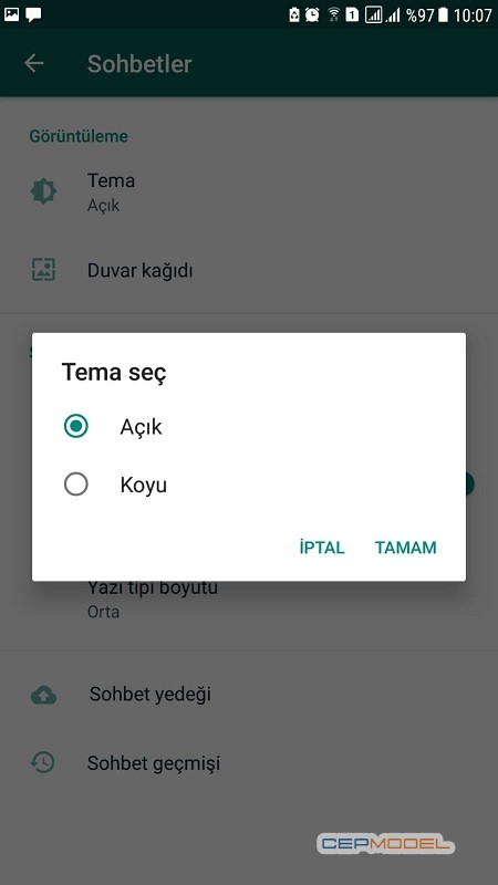 WhatsApp Karanlik Mod Android 1 - Whatsapp Karanlık Mod Nasıl Ayarlanır ?