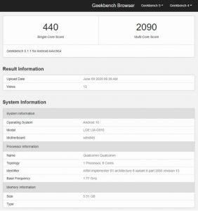 lg velvet 4g geekbench 282x300 - LG Velvet 4G'nin Bazı Özellikleri Ortaya Çıktı